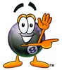 Eight Ball Cartoon Character Giving Directions clipart