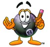 Eight Ball Cartoon Character Holding a Pencil clipart