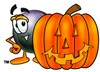 Eight Ball Cartoon Character With a Halloween Pumpkin clipart