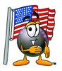 Eight Ball Cartoon Character With an American Flag clipart