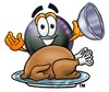 Eight Ball Cartoon Character Serving a Thanksgiving Turkey clipart