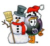 Eight Ball Cartoon Character With a Snowman clipart