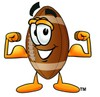 Football Cartoon Character Flexing His Muscles clipart