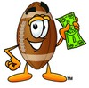 Football Cartoon Character Holding Cash clipart