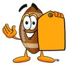 Football Cartoon Character Holding a Yellow Price Tag clipart
