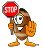 Football Cartoon Character Holding a Stop Sign clipart