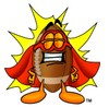 Football Cartoon Character Wearing a Super Hero Costume clipart