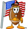 Football Cartoon Character With an American Flag clipart