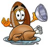 Football Cartoon Character Serving a Thanksgiving Turkey clipart