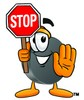 Hockey Puck Cartoon Character Holding a Stop Sign clipart