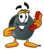 Hockey Puck Cartoon Character Holding a Phone clipart