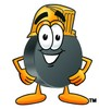 Hockey Puck Cartoon Character Wearing a Helmet clipart