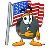 Hockey Puck Cartoon Character With an American Flag clipart