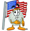 Golf Ball Cartoon Character With an American Flag clipart