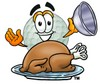Golf Ball Cartoon Character Serving a Thanksgiving Turkey clipart