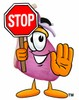 Heart Cartoon Character Holding a Stop Sign clipart