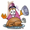Heart Cartoon Character Serving a Thanksgiving Turkey clipart