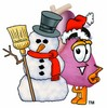Heart Cartoon Character With a Snowman clipart