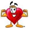 Heart Cartoon Character Flexing His Muscles clipart