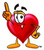 Heart Cartoon Character Pointing Upwards clipart