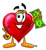 Heart Cartoon Character Holding Cash clipart