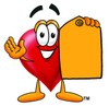 Heart Cartoon Character Holding a Yellow Price Tag clipart
