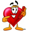 Heart Cartoon Character Holding a Phone clipart