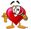 Heart Cartoon Character Looking Through a Magnifying Glass clipart