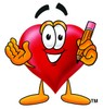 Heart Cartoon Character Holding a Pencil clipart