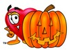 Heart Cartoon Character With a Halloween Pumpkin clipart