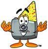 Camera Cartoon Character Wearing a Party Hat clipart