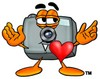 Camera Cartoon Character in Love clipart