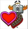 Camera Cartoon Character With Valentines Candies clipart