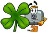 Camera Cartoon Character With a Four Leaf Clover clipart