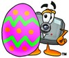 Camera Cartoon Character With an Easter Egg clipart