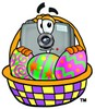 Camera Cartoon Character With Easter Eggs in a Basket clipart
