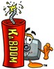 Camera Cartoon Character With a Stick of Dynamite clipart