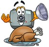 Camera Cartoon Character Serving a Thanksgiving Turkey clipart
