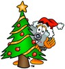 Camera Cartoon Character With a Christmas Tree clipart