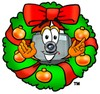 Camera Cartoon Character With a Christmas Wreath clipart