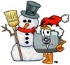 Camera Cartoon Character With a Snowman clipart