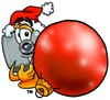 Camera Cartoon Character Holding a Christmas Ornament clipart