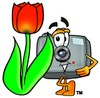 Camera Cartoon Character With a Spring Tulip clipart