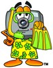 Camera Cartoon Character in Yellow Snorkel Gear clipart