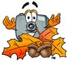Camera Cartoon Character With Autumn Leaves and Acorns clipart