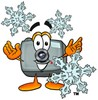 Camera Cartoon Character With Snowflakes clipart