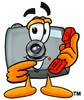 Camera Cartoon Character Holding a Phone clipart