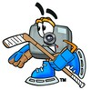Camera Cartoon Character Playing Ice Hockey clipart