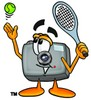 Camera Cartoon Character Playing Tennis clipart