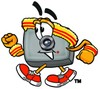 Camera Cartoon Character Speed Walking clipart